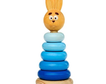 Hare pyramid - Learning Toy - Montessori toddler toy - Toddler birthday gift - Wooden toy - Educational toy