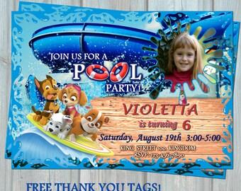 Paw Patrol Pool Invitation, Splish Splash Party, Water Birthday