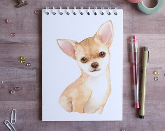 NOTEBOOK. A5 Aquarelle Chihuahua Spiral Notebook. Soft 300 gsm Card Cover. 100 lined pages. Matte lamination pleasant to the touch.