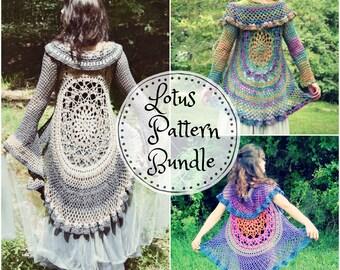Crochet PATTERN Bundle: Lotus Duster & Lotus Vest / Bohemian Hippie Lace Mandala Jacket Vest / 2 Instant Download PDFs