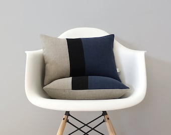 Colorblock Pillow Cover with Navy Blue, Black and Natural Linen Stripes by JillianReneDecor, Modern Home Decor, Stripe Trio, Indigo Blue