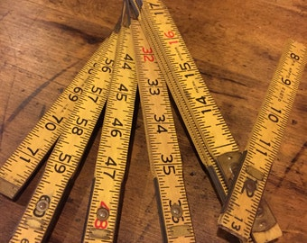 Vintage Yellow Expandable Wooden Rule