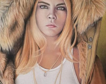 "Cara Delevingne pastel painting 12"" x 18"""