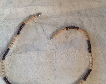 Coconut Shell And Wood Beads Necklace