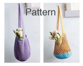 Two Market Tote Crochet Patterns, Shopping Bag Pattern, Slouchy Bag Patterns,  Crochet Market Bag Pattern,  Book Bag, Beach Bag