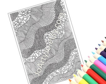 Coloring Page, Printable Zentangle Inspired Intricate Zendoodle Pattern, Page 32