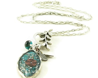 Orgone Energy Leaf Charm Necklace - Orgone Energy Jewelry - Turquoise Gemstone Necklace - Quartz Crystal - Petite Pendant - Artisan Jewelry