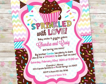 Baby Sprinkle, Cupcake Baby Shower, Invitation with Cupcakes and Sprinkles, Baby Girl, Sprinkled with Love Invite