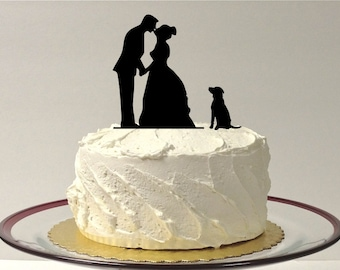 MADE In USA, Include Your Dog Silhouette Wedding Cake Topper Dog Pet Family of 3 Wedding Cake Topper Bride and Groom Cake Topper
