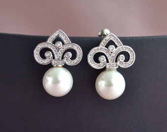 Pearl bridal earrings, pearl and crystal earrings, Art Deco pearl earrings, pearl wedding jewelry