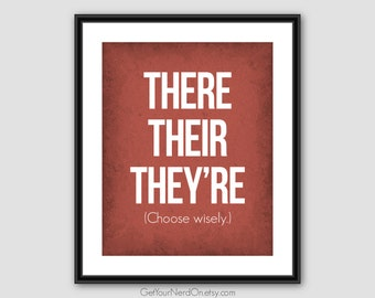 There Their They're, Funny Grammar Poster, Classroom Decor, Word Nerd Print