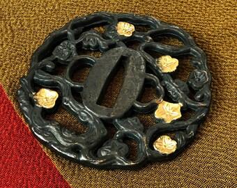 """Japanese """"Katana-Tsuba"""" Metal Swordguard Ume Blossom Metal‐Carving Vintage"""