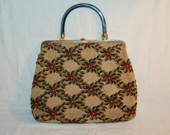 Vintage 50s Heavily Beaded Jeweled Purse Awesome Handbag Amazing