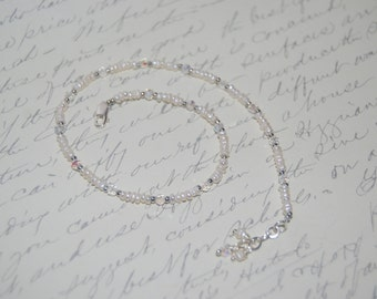 Freshwater Pearl, Clear Crystal, Silver Elements Sexy Anklet.