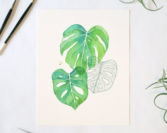 Monstera Composition Print - Watercolor Monstera Leaves 8x10