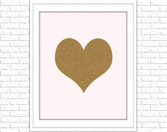 Gold and Pink Heart Print| 8x10 Printable Art Print | Girl Nursery Wall Art | Nursery Digital Printable | Instant Download Printable
