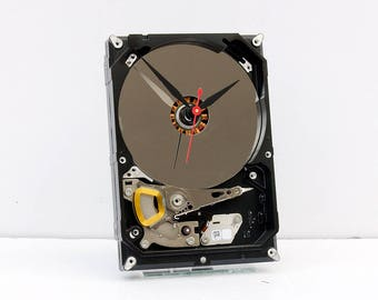 recycled geek gift, nerd Christmas gift, repurposed computer parts clock, recycled computer gift, Recycled Computer Hard Drive Clock, modern