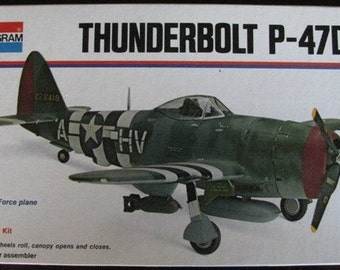 Model Airplane Thunderbolt P-47 Fighter Plane 1/48 scale kit  Monogram  Decals  Army Air Force RAF Military  Aircraft WWII Aviation
