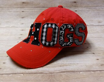 Hogs Distressed Applique Hat * Football Mom Hat * Embroidered Baseball Cap * Razorbacks Hat