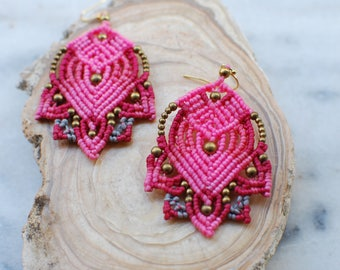 Bohemian Style Earrings, Gypsy Earrings, Tribal Earrings,Macrame Earrings.