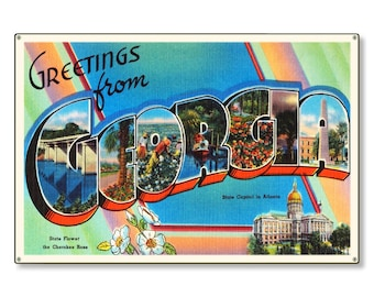 State of Georgia ga Old Retro Vintage Travel Postcard Reproduction Metal Sign Art Wall Decor STEEL not tin 36x24 FREE SHIPPING