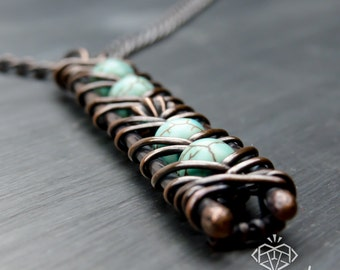 Long Statement Necklace – Turquoise Color Magnesite Stone Pendant – Long Necklace – Boho Pendant Necklace – Perfect Long Summer Necklace