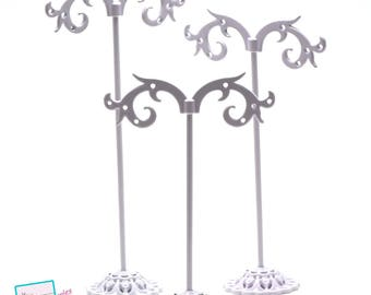 Set of 3 racks for earring, white