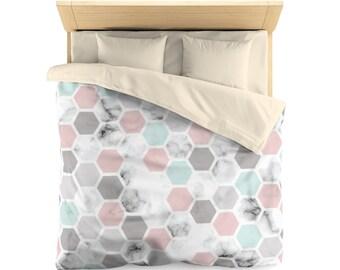Marble Duvet Cover, geometric shapes, modern duvet cover, bedroom decor, home decor