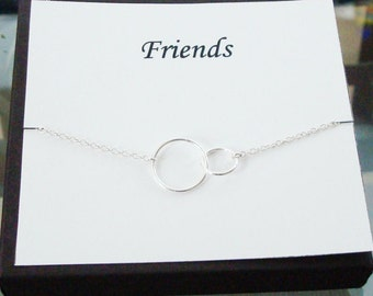 Double Circle Infinity Link Sterling Silver Necklace ~~Personalized Jewelry Gift Card for Friend, Best Friend, Sister, Bridal Party, Cousin