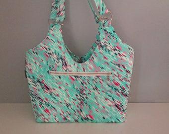 Large Shoulder Bag, Blue Shoulder Bag, Floral Fabric Bag, Small Tote Purse, Diaper Bag Tote, Small Blue Tote Bag