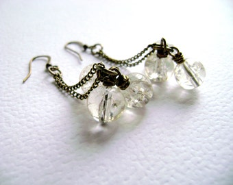 Feminine Delicate - Icy - Vintage inspired long earrings Translucent glass  antique bronze chain