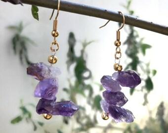 Amethyst earrings, raw crystal earrings, healing crystal, gemstone earrings, Bohemian earrings, dangle earrings, gift for her, jewelry gift