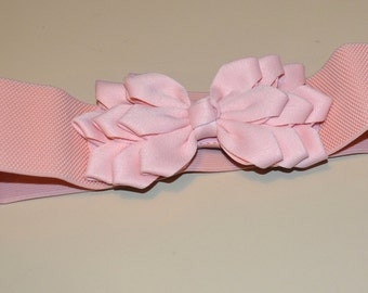 Flower cinch Bow belt, Wide elastic stretch corset belt, Peach stretch belt, Wedding belt, one size