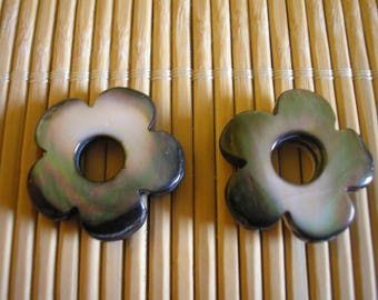 Shaped beads with a hole drilled Pearl flowers