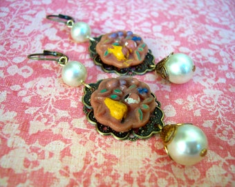 Charmingly chippy upcycled pink fruit button dangle earrings