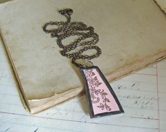 Recycled Souvenir Plate Necklace, Soldered Jewelry