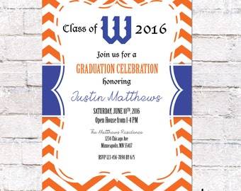 Graduation Invitation with school logo and colors. High School Grad Invite. College Grad Party. Graduation with custom colors. Digital File.