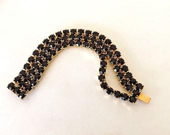 Vintage Bracelet Black Swarovski Rhinestones Black Jet  Glass New Old Stock NOS Salesman Sample
