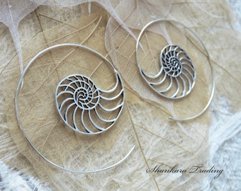 Spiral Hoop Earrings, Tribal Brass Earrings, White Brass Earrings, Ethnic Earrings, Boho Earrings, Belly Dance Jewelry, Ammonite Earrings