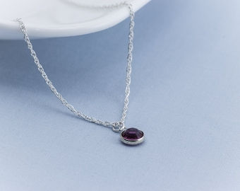 Birthstone Necklace, Personalized Necklace, Sterling Silver, Birthday gift,  Friends, Mom, Bridemaid gift