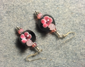 Black and pink lampwork turtle bead earrings adorned with pink Czech glass beads.