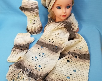 Fingerless Gloves, Slouch Hat & Scarf Prancing Paws in The Sand Crochet by Bren