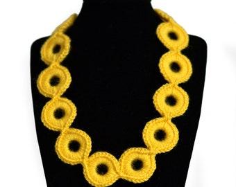 Sunflower Yellow Crochet Necklace