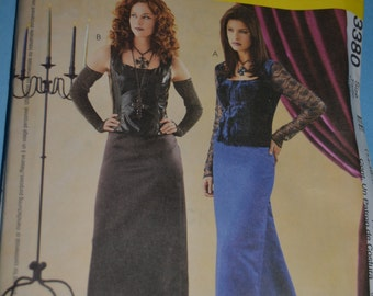 McCalls 3380 Misses Goth Costume Sewing Pattern - UNCUT - Sizes 14 16 18 20 or Size 6 8 10 12