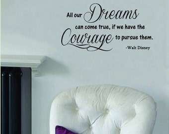 """All Our Dreams Can Come True- Walt Disney  Wall Decal -(21"""" x 11"""")"""