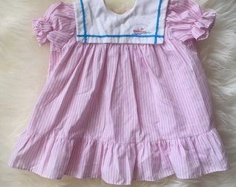 Vintage 80s 1980s toddler baby girl pastel pink striped sailor dress nautical