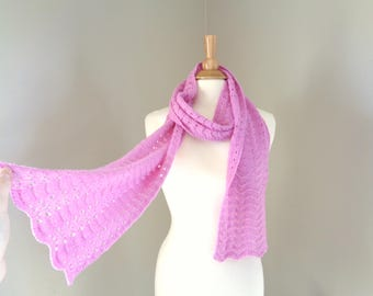 Pure Cashmere Scarf, Bubblegum Pink, Hand Knit, Long Light Scarf, Lace Lacy Wrap Scarf, Spring Fashion