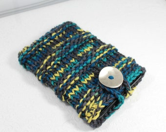 Gray Turquoise Chunky Knit IPad Mini Sleeve, Knit Kindle Fire Case, Knit Notebook Sleeve, Knit Sleeve, Knit Ipad Mini, Knit Tablet Case