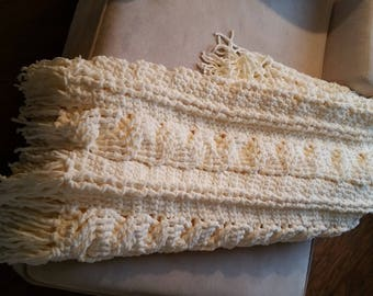 Mother gift, mother-in-law gift, Mother's Day gift, heirloom, Cabled handcrafted chenille afghan/throw in Snow