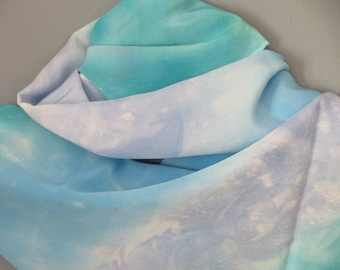 Silk scarf, blue silk scarf, crepe de chine, hand dyed silk, gifts for her
